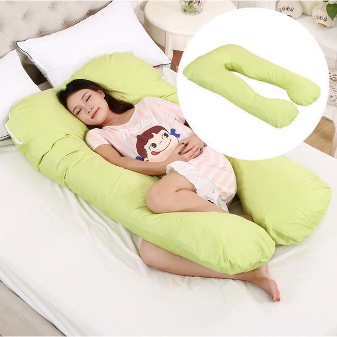 grossesse oreiller Mémoire en forme de U coton sommeil femme enceinte oreiller Corps Soins anti-allergiques bébé(Vert)