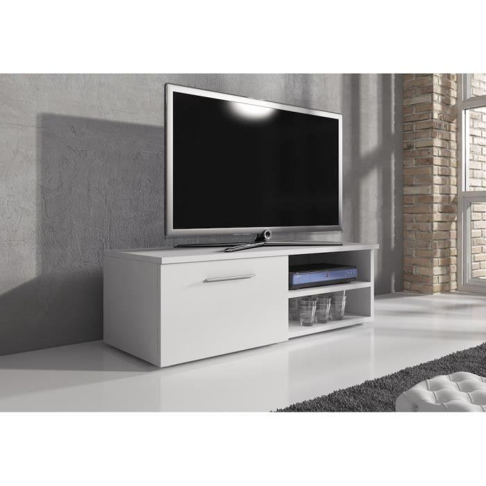 RENO Meuble TV contemporain décor Blanc mat - 120 cm