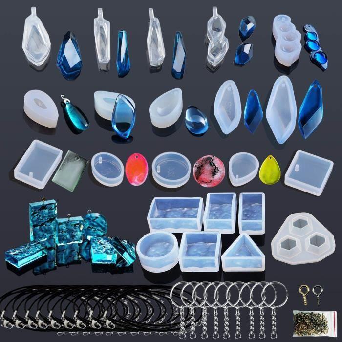 Autocollants décoratifs Woohome 43 PCS Silicone Moule pour Bijoux, Modèles Moule Resine et Outils Réglés avec des Epingl 8184