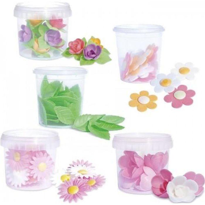 Feuilles de décoration azyme roses blanches et rose, mini roses, marguerites, anémones, feuilles vertes