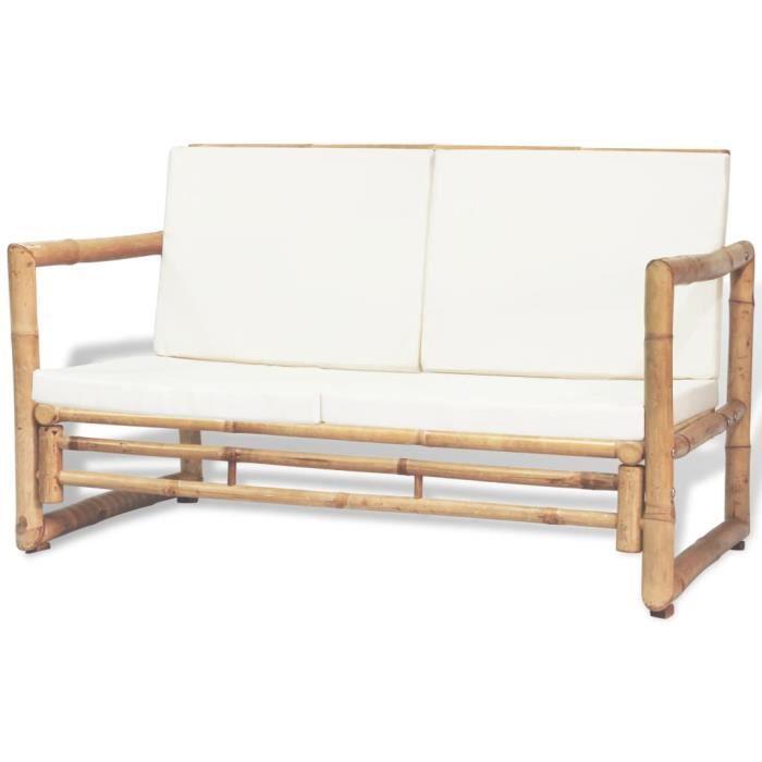 Canapé de Jardin Canapé d'extérieur à 2 Places avec Coussins Bambou