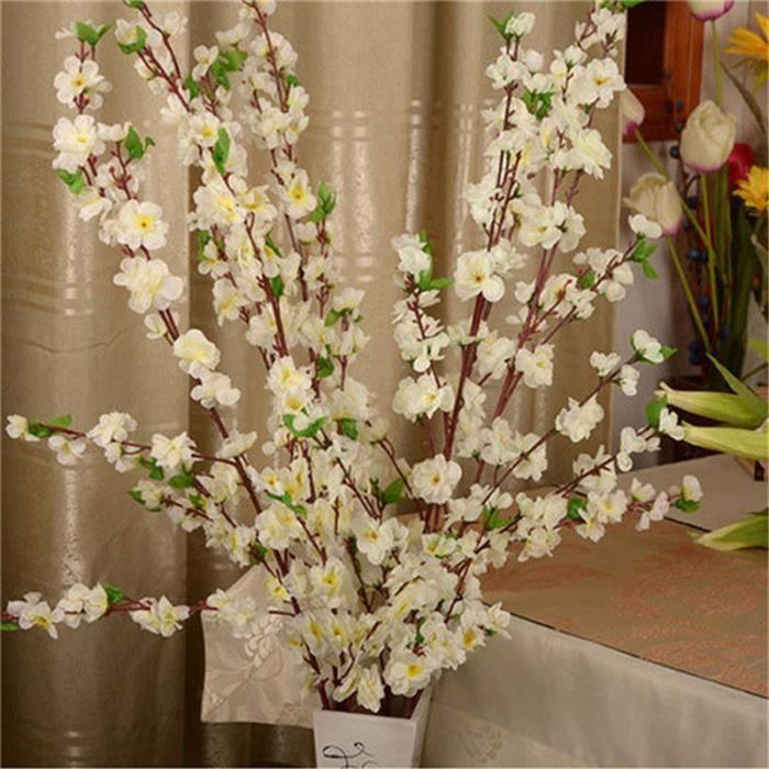 Fleur artificielle en soie 65CM 5 pièces, Branches de fleurs de cerisier prune de printemps, Bouquet de fleurs - WHITE