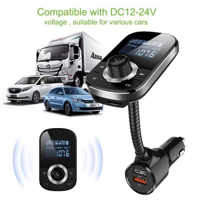 Transmetteur FM Bluetooth, Kit Main Libre Voiture Bluetooth Autoradio Adaptateur Voiture MP3 Lecteur USB Chargeur Allume Cig My17875