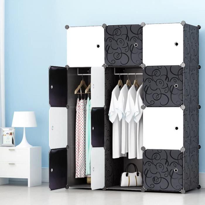 12-Cube Armoire Portable DIY, Penderie avec Portes, Tige Suspendue, Construction Solide pour Vêtement Chaussures, Accessoires