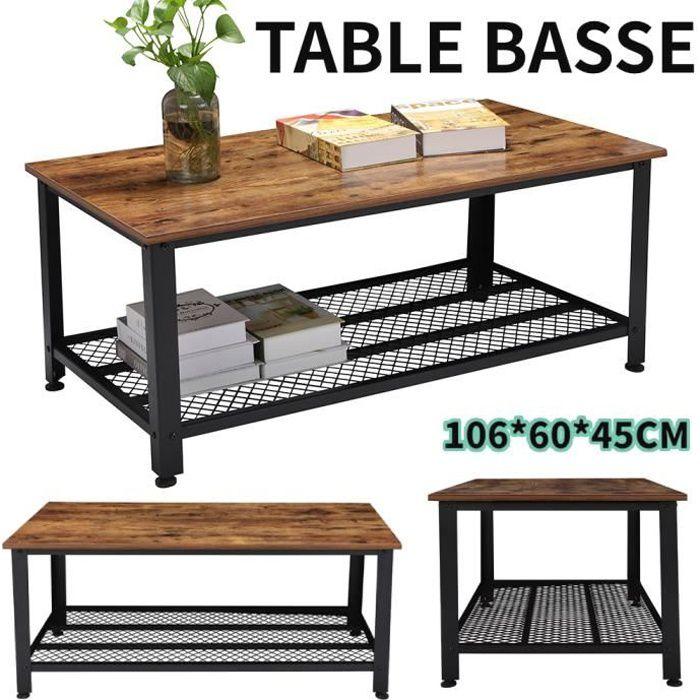 Table basse - Armature en métal - Industriel - 2 étagère Table basse design industriel bois et métal noir-RUR