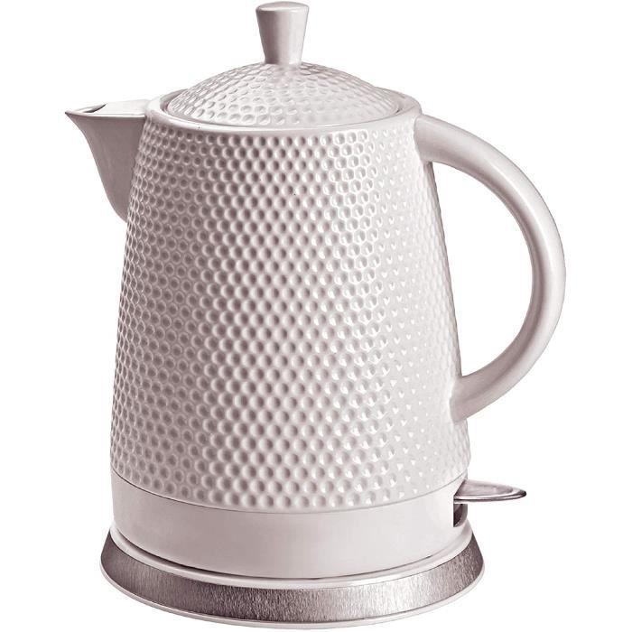 KVOTA Bouilloire électrique en céramique - 1,5 l - 1500 W - Design à picots - Blanc - Couvercle amovible