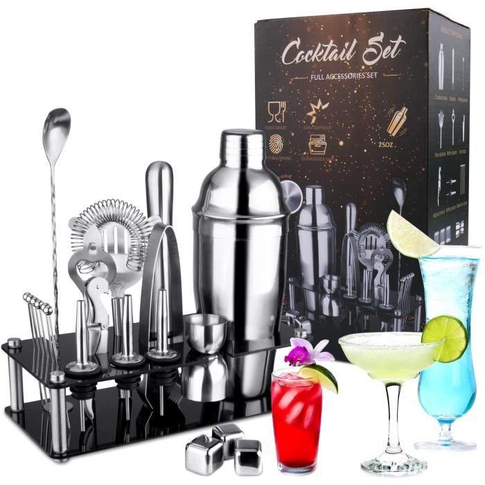 SET COCKTAIL OMEW Lot de 20 shakers à cocktail en acier inoxydable avec support en acrylique 750 ml164