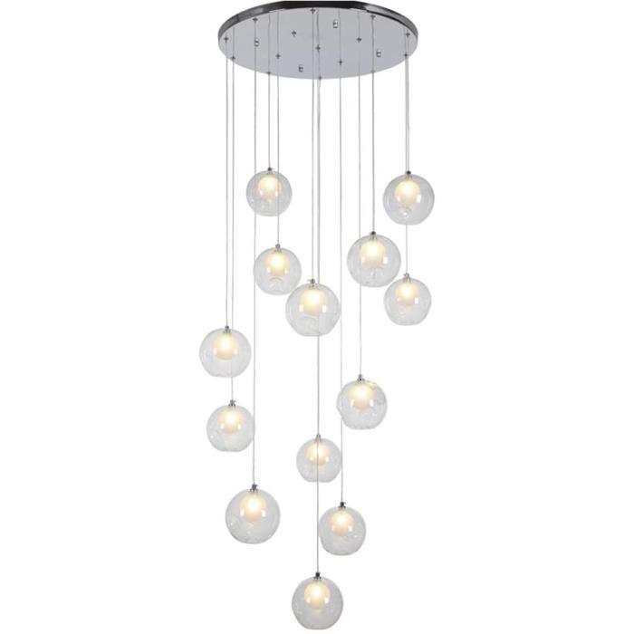 ZRSZ Lampe agrave Suspension Creacuteative Multi-lumiegraveres agrave LED, Lustre en Escalier avec Boule De Verre De 12 Po,
