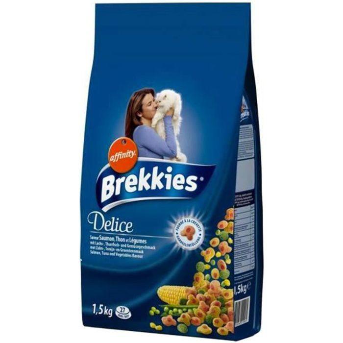 Brekkies Delice Chats Croquettes Saumon Thon et Légumes 1,5Kg (lot de 3)