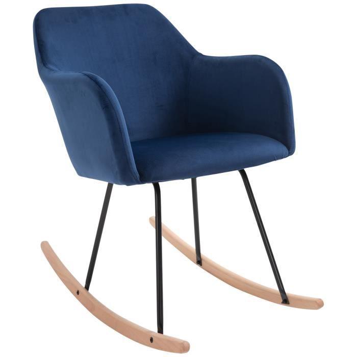 Fauteuil à bascule grand confort accoudoirs assise dossier garnissage mousse haute densité velours bleu roi 40x69x80cm Bleu