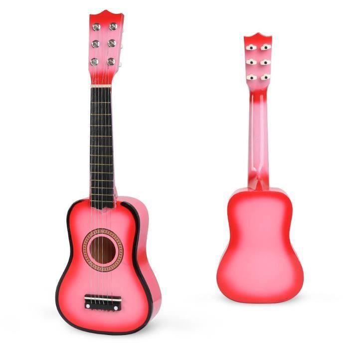 Guitare jouet 21 pouces en bois enfants débutant apprendre la guitare Rose