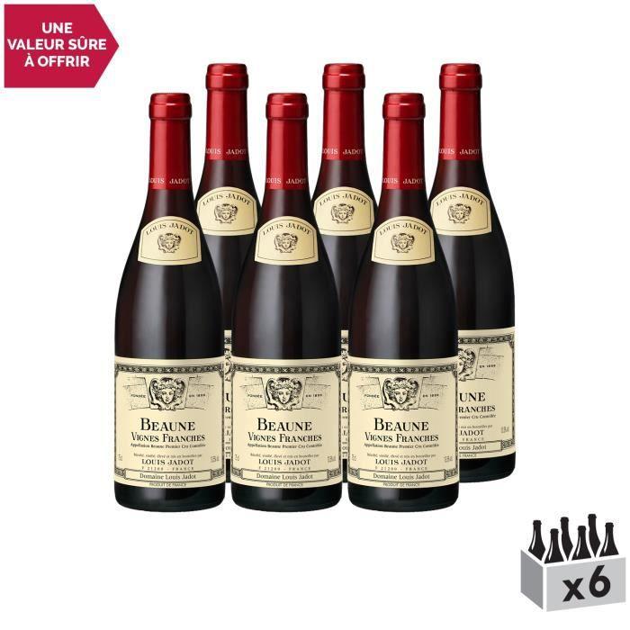Beaune 1er Cru Les Vignes Franches Rouge 2015 - Lot de 6x75cl - Louis Jadot - Vin AOC Rouge de Bourgogne - Cépage Pinot Noir