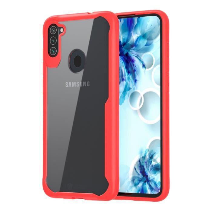 Coque pour Samsung Galaxy A11 Coque de Protection Antichoc en TPU Dur Transparent pour Samsung Galaxy A11 - Rouge