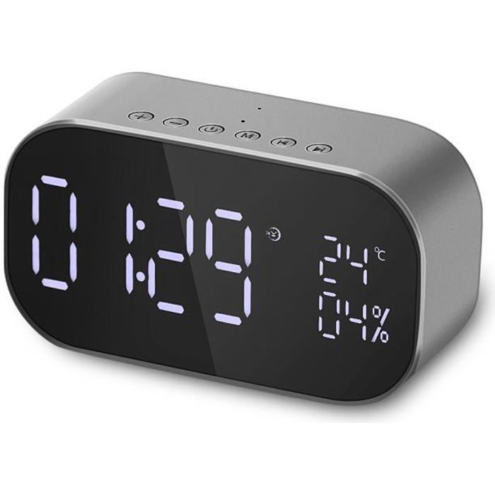 Radio Réveil Haut-Parleur Bluetooth Grand Écran Lcd Multifonction Thermomètre Audio Fm Lecteur Musique - Gris Argenté