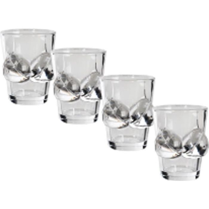 Set de 4 verres shooter sexy boobs 50 ml U Multicolore