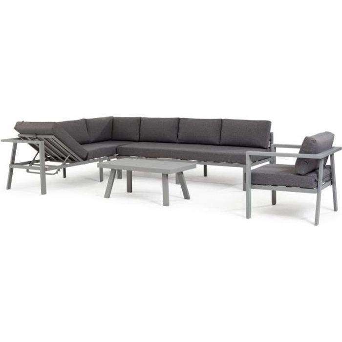 Salon de jardin 6 places canapé d'angle, fauteuil et table basse Gris