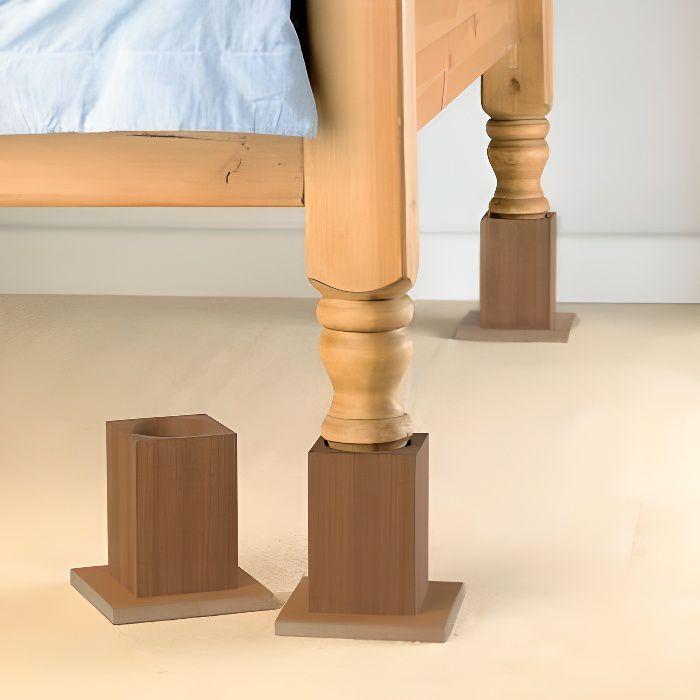 Cubes réhausseurs de lit blox grande stabilité, 4 pieds pour rehausser son lit