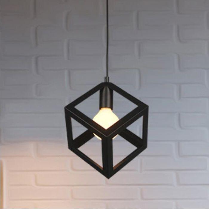 Lustre Rétro Plafonnier Cage Cube Noir Suspensions Luminaire Vintage en Métal pour Salon, Chambre, Salle