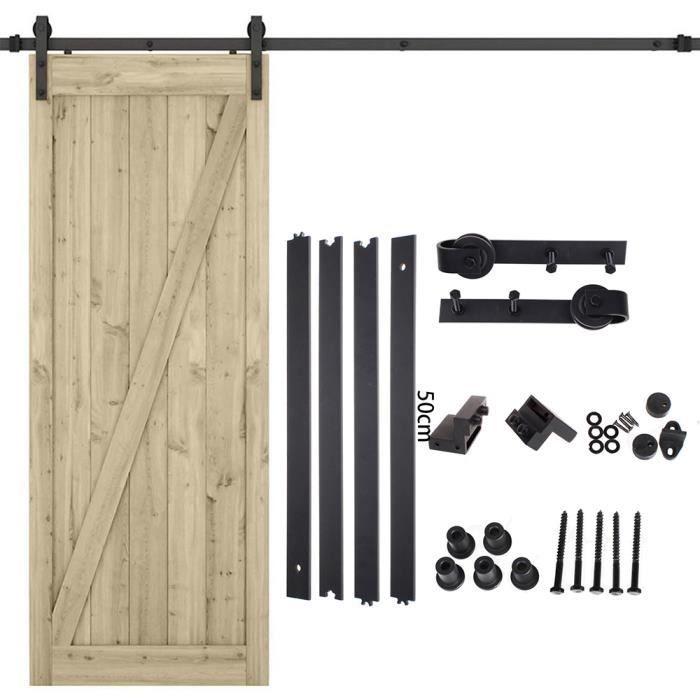 Kit de Quincaillerie-Système de porte coulissante -avec roulettes- 200 cm - Ensemble complet de rail - Système de porte coulissante