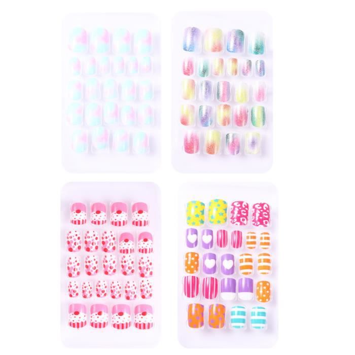 4 boîtes faux ongles enfants belle mode créative outil de manucure ornement Nail FAUX ONGLES - CAPSULE - TIPS - FORME - PROTHESE