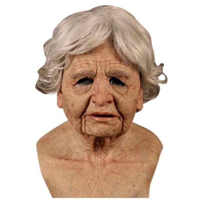 Halloween vieil homme masque latex Halloween costume réaliste accessoires de fête masque coiffe -- Vieille femme
