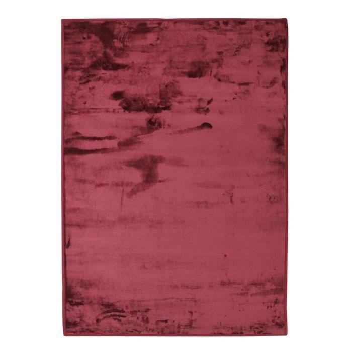 FLANELLE - Tapis extra-doux effet velours rouge foncé 120x170