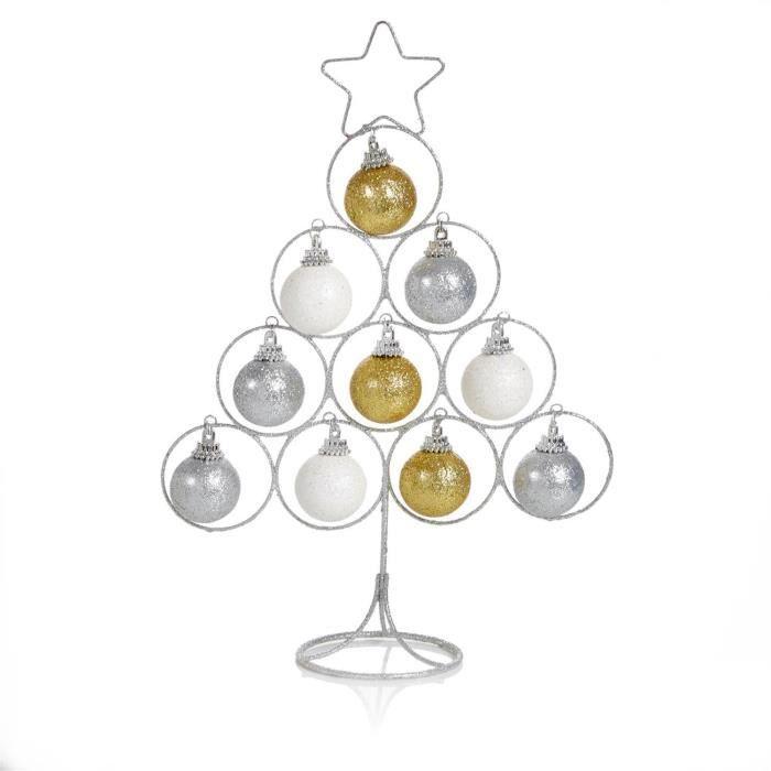 Arbre décoratif de Noël en fil d'argent de 30 cm avec boules - Idéal pour les bureaux et les tables de TRIXES
