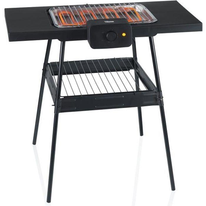 TRISTAR BQ-2870 - Barbecue sur pieds 36,5x25,5cm - Fonction barbecue de table - 2000W - Thermostat réglable - Pieds antidérapants