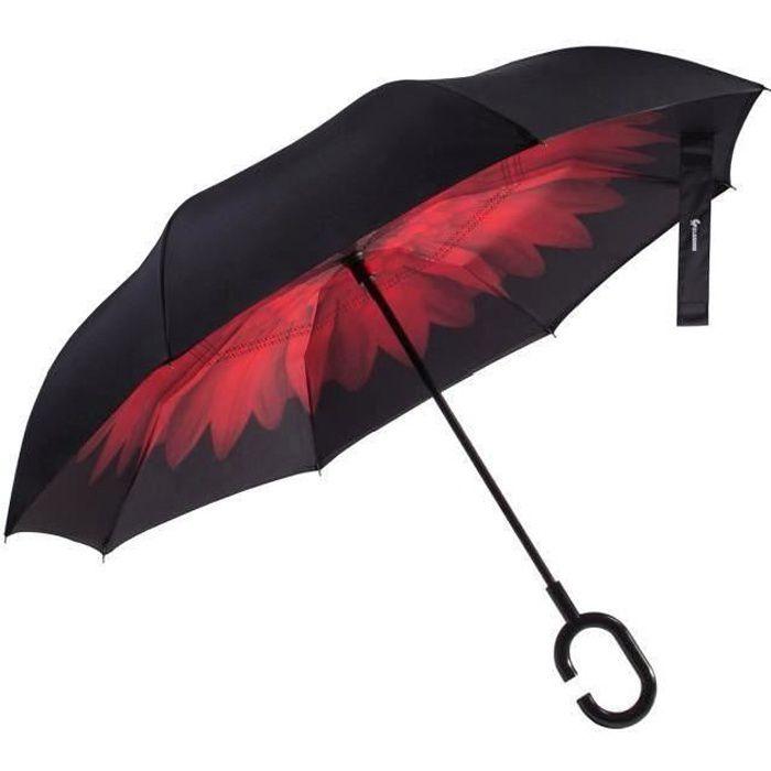 Glamore Parapluie Inverse Inversé Canne Double Couche Poignée C Etanche Anti UV Coupe-Vent Pour Voiture et Voyage Noir et Rouge