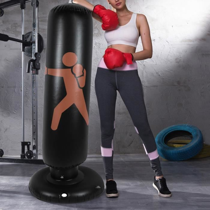 Sac de frappe de boxe sur pied – Sac de frappe gonflable d'excellente qualité et résistant HAN06