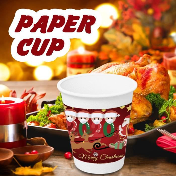 Tasse de papier de modèle de Noël jetable pour les fournitures de fête de vacances de Noël ...