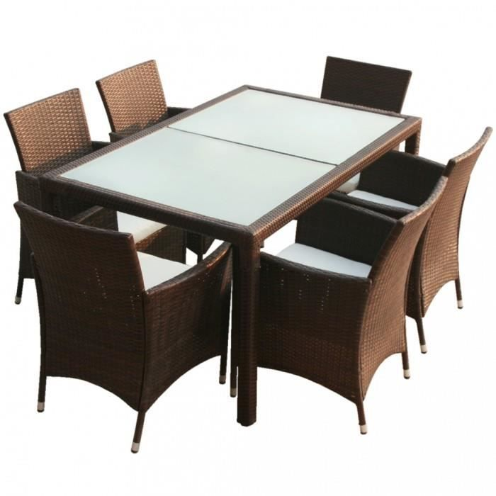ensembles de meubles d 39 exterieur ensemble table 6 chaises rotin marron achat vente table a. Black Bedroom Furniture Sets. Home Design Ideas