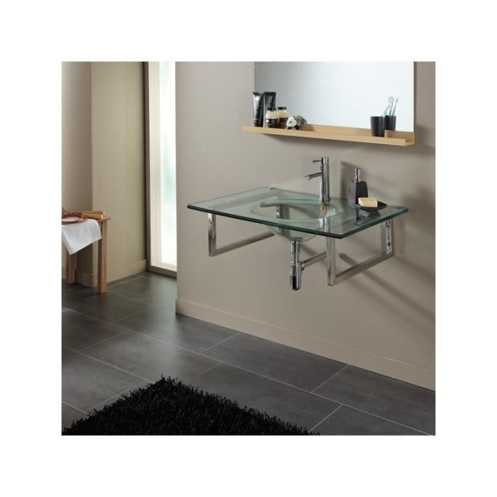 Plan vasque simple en verre design achat vente lavabo vasque 141007 plan vasque simple - Vasque en verre salle de bain ...