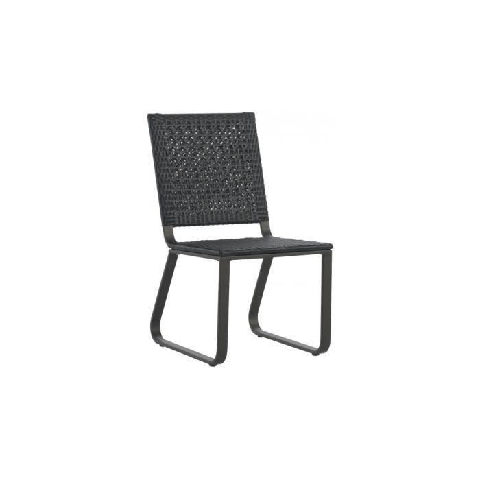 FAUTEUIL JARDIN  Chaise aluminium gris résine tressée noyer