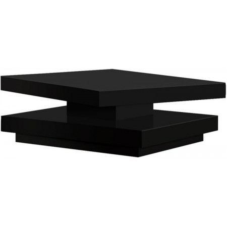 Table basse carr e pivotante margo noir laqu achat - Table basse pivotante ...