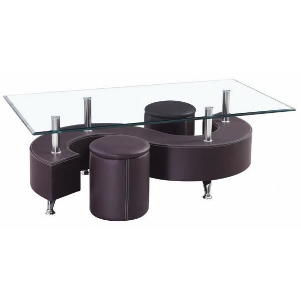 Table Basse S Marron 2 Poufs Achat Vente Table Basse