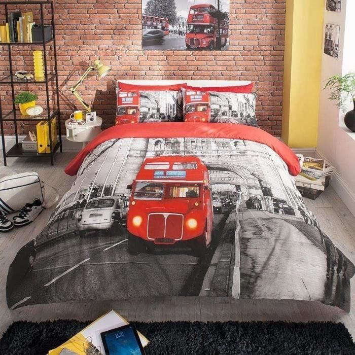 parure de lit londres london bus achat vente housse de couette cdiscount. Black Bedroom Furniture Sets. Home Design Ideas