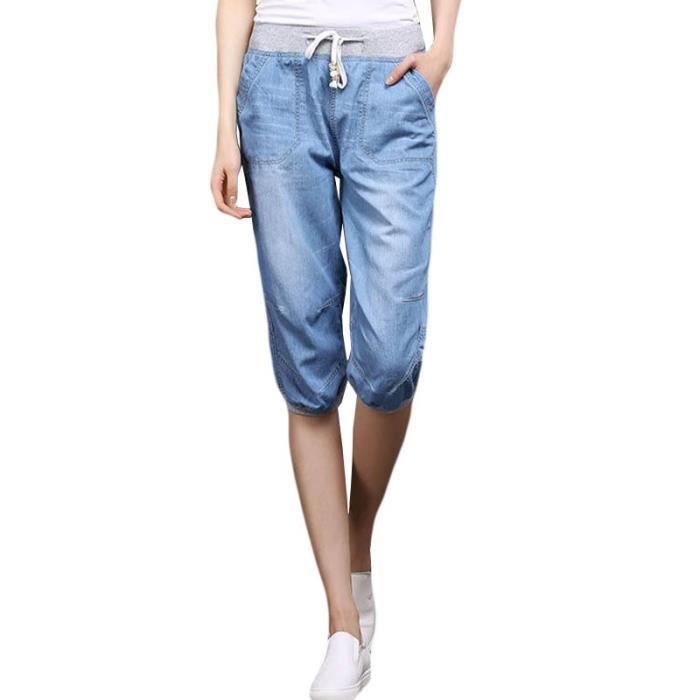 Pantacourt Femme Jeans Taille Haute Pantalon