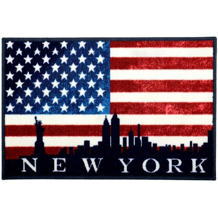 tapis de cuisine entr e de pi ce d co ny drapeau usa inscription new york 40 x 60 cm achat. Black Bedroom Furniture Sets. Home Design Ideas