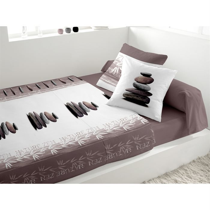 parure de lit nature zen taupe achat vente parure de. Black Bedroom Furniture Sets. Home Design Ideas