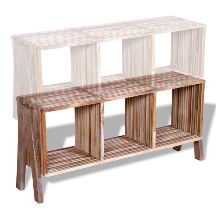 meuble tv empilable en teck recycl avec 3 tag res. Black Bedroom Furniture Sets. Home Design Ideas