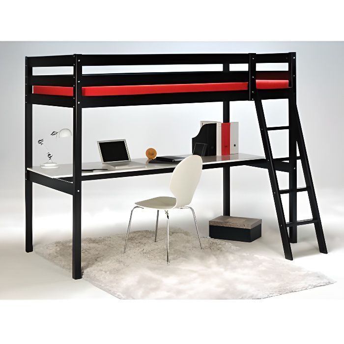 lit mezzanine avec bureau et rangement achat vente lit. Black Bedroom Furniture Sets. Home Design Ideas