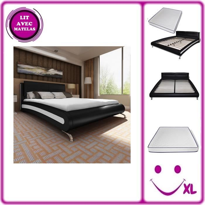lit en simili cuir matelas m moire de forme noir blanc 140 200cm achat vente structure de. Black Bedroom Furniture Sets. Home Design Ideas