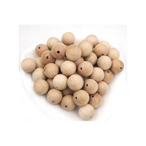 Perles Perles rondes en bois hêtre 18mm