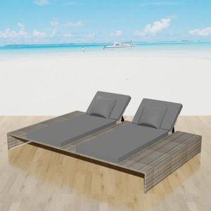 CHAISE LONGUE Chaise Longue de Plage Bain de Soleil 2 Places en