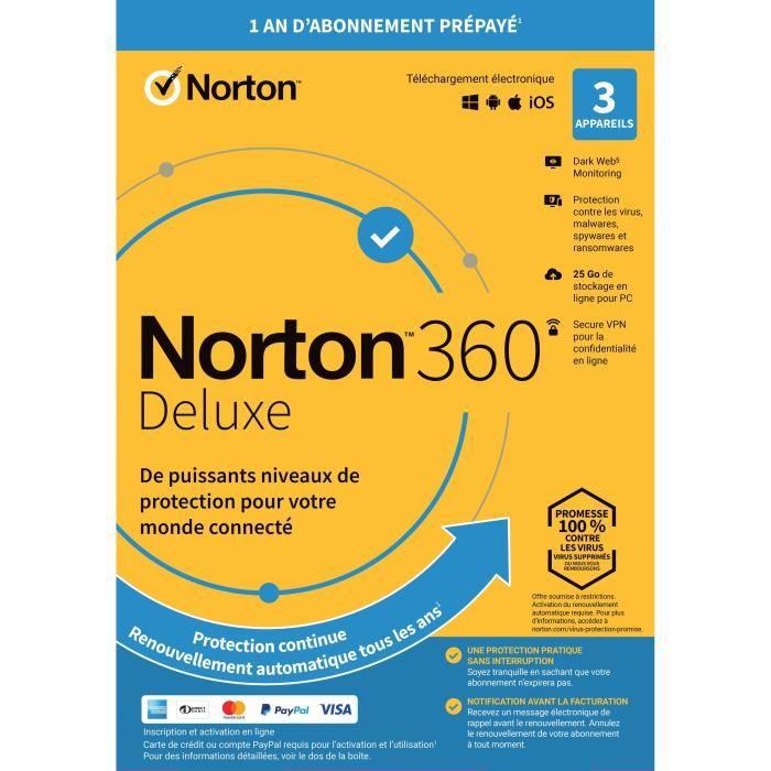 Antivirus NORTON 360 Deluxe - 25Go - 1 Utilisateur - 3...