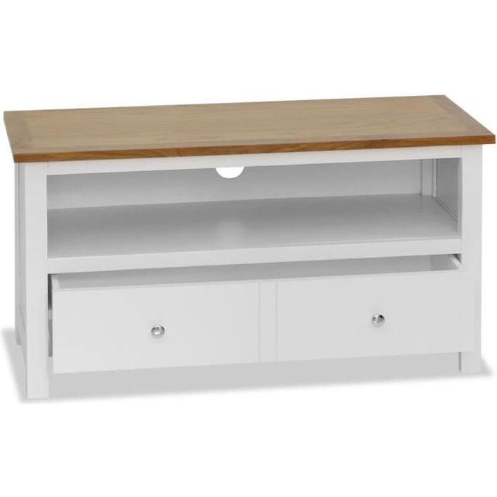 FHE Meuble TV 90x35x48 cm Avec 1 tiroir et 1 compartiment blanc et marron Bois de chêne massif MDF