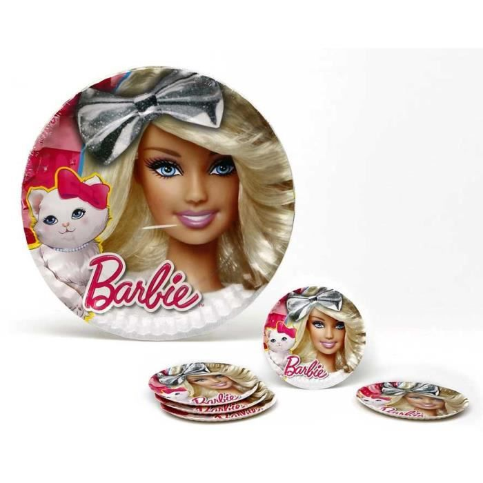 ATOSA Pack de 5 assiettes en carton - Collection Barbie - Fille - 23 cm