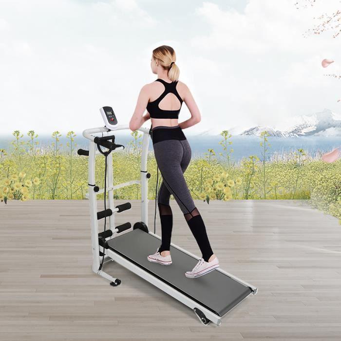 WSdwqaa® Tapis de Marche Mécanique Pliable - Gris - Pour Jogging et Fitness