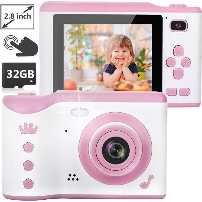 Appareil Photo Numérique 2.8 Pouces Écran avec Carte 32GB TF/ Photo & Vidéo/Cadre/ FiltreMini-Caméra pour Enfants de 3 à 12 Ans